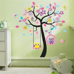$enCountryForm.capitalKeyWord Australia - Large Owl and Tree Swing Wall Sticker PVC Animal and Plant Wall Art Decal for Kids Room and Nursery Home Decoration