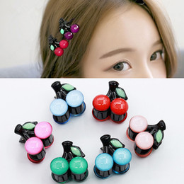 mini hair claws NZ - Cute Acrylic Kids Hairpins Women Cherry Hair Claws Mini Barrettes Kawaii Hair Clips Clamp Girls Small Hair Accessories
