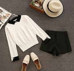 Korean sweater pants online shopping - 2019 spring and autumn new Korean students slim fashion sweaters wide leg shorts two piece set