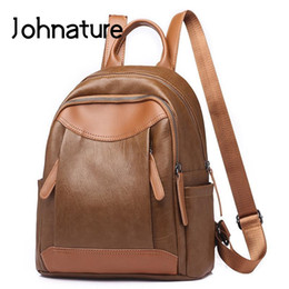 $enCountryForm.capitalKeyWord NZ - Johnature 2019 New Soft Handle Preppy Style Softback Arcuate Shoulder Strap Zipper Flap Pocket Solid Simple Women Backpack