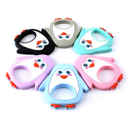 Discount pink blue penguin cartoon Keep&Grow Penguin Silicone Baby Teether Cartoon Animal BPA Free Rodents Teething Necklace