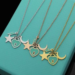 Titanium Moon Pendant Australia - 316L titanium steel jewelry wholesale brand name T letter green star moon pendant necklace peach heart key hole ladies necklace