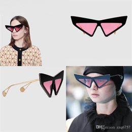 Diamond Uv Australia - New fashion designer sunglasses 0430 triangle frame acetate big frame with diamond unique style Avant-garde popular style uv 400 lens