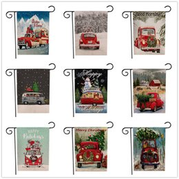 christmas flags sale Canada - Hot Sale Christmas Garden Flags Santa Claus Reindeer Snowman Garden Flag Indoor Outdoor Home Décor Snowflake Party Hanging Flag