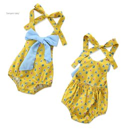 Jumpsuit matching online shopping - Newborn Baby Girl Rompers Girls Strap Halter Bow Little Floral Rompers Infant Girl Designer Clothes Halter Color Matching Jumpsuit M