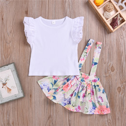 $enCountryForm.capitalKeyWord Australia - Summer girl kids clothes Set short sleeve White T-shirt top+printed strap skirt TUTU skirts 2 piece Kids Designer Clothes Girls DHL JY410