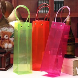 $enCountryForm.capitalKeyWord NZ - handle colorful Clear PP bags Wine packing 33x10x9cm Red Green Cherry Juice Olive Oil Champange Bottle Carrier Gift 20pcs