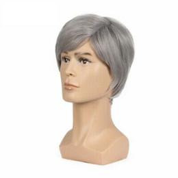 $enCountryForm.capitalKeyWord Australia - New Fashion Short Silver Grey Wigs For Men Natural Hair Cosplay Wig