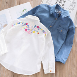 5e286ddb83c Kids denim shirt girls back floral embroidery jean blouse children lapel  single breasted long sleeve shirt spring girls princess tops F