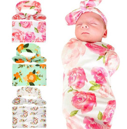 $enCountryForm.capitalKeyWord Australia - min 3 sets Kids Muslin Swaddles Ins Wraps Blankets Nursery Bedding Newborn Organic Cotton Ins Floral Print Swaddle + Headband two piece sets