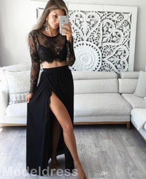 $enCountryForm.capitalKeyWord Australia - Sexy Two Pieces Split Prom Dresses Long Sleeves Lace Top A Line Long Modest Black Evening Party Special Occasion Gowns