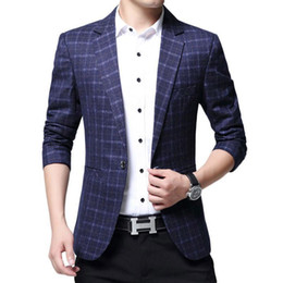 mens blue linen jacket 2020 - Men Blazer Jacket Fashion Business Blazer Men Casual Jacket Cotton Mens Classic Suit Jackets And Coats cheap mens blue l
