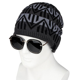 $enCountryForm.capitalKeyWord Australia - New Men Winter Warm Knitted Hat Outdoor Wavy Stripe Fleece Lined Beanie Skull Cap