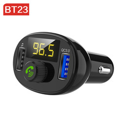 Dual Audio Car Australia - BT23 QC 3.0 Bluetooth Car Kit Quick Dual USB Phone Car Charger FM Transmitter modulator Audio Music Mp3 Player Handsfree Car kit