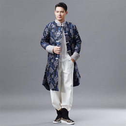 $enCountryForm.capitalKeyWord Australia - Traditional Chinese clothing for men cheongsam style tang suit Top men's vintage long jacket oriental male costume Film TV stage wear