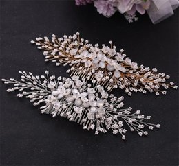 pearl floral wedding hair combs Australia - New Fashion Women Crystal Hair Comb Pearls Wedding Bridal Headpiece Rhinestone Hair Accessories Headpiece Floral Flower Headdress Jewelry