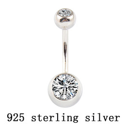 double bell UK - Real 925 sterling silver belly button ring clear double zircon body jewelry ball navel bar piercing jewelry free shipping