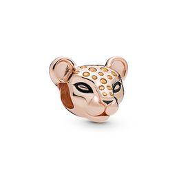 $enCountryForm.capitalKeyWord Australia - 925 Sterling Silver Rose Gold Plated Sparkling Lion Princess Charm Fits European Pandora Jewelry Bead Charm Bracelets & Necklaces