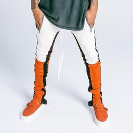 Match Blocks Australia - Block Patchwork Stripe Harem Pants Mens 2018 Autumn Casual Pockets Joggers Sweatpants Male Cotton Ankle Color Matching Trousers