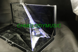 Light guitar strings online shopping - Lzeal quality acrylic body blue led light on acrylic neck electric guitar guitrra customized production available SSS pickups guitar
