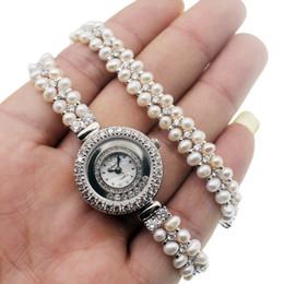 $enCountryForm.capitalKeyWord Australia - Pearl Watch For Women White Cubic Zirconia 925 Sterling Silver Charm Double Links Bracelet Wristwatch Fashion Pretty Prom Gifts 38cm