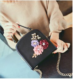 gold beads long chain designs NZ - Women crossbody bag female messenger bag with long and short strap fashion designs flowers