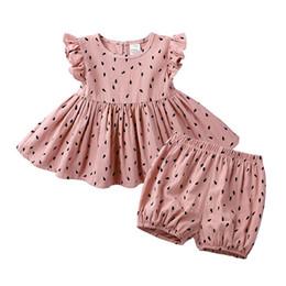 $enCountryForm.capitalKeyWord NZ - INS Summer Little Girls Suits A-line Round Collar Ruffles Fly Sleeve Tress Printing Cotton Tatting Children Girls 2pieces Dress + Pants Set