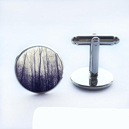 Vintage Silver Cufflinks NZ - Vintage Bare Tree Glass Cuff Links Silver Bare Forest Luxury Cufflinks for Men Women-Handmade Shirts Dress Suits Christmas Gift