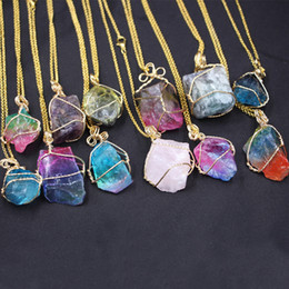 Pendants Green Amethyst Australia - Best selling new original stone necklace pure natural crystal amethyst powder crystal pendant multicolor irregular natural stone ornaments