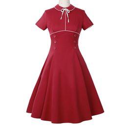 $enCountryForm.capitalKeyWord UK - Dress Women Plus Size Vintage Button High Waist Short Sleeve Swing Dresses Feitong elegant Solid Mid-Calf-Length Dress sexy 2019
