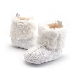 Infants crocheted bootIes online shopping - Baby Infant Crochet Knit Fleece Boots Toddler Girls Wool Snow Crib Shoes Booties