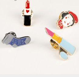 $enCountryForm.capitalKeyWord Australia - 2019 New Fashion lipstick sock Brooch Beauty Women brooches Cartoon Pin GIft