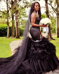 black gothic mermaid wedding dresses UK - 2020 Sweetheart Black Mermaid Wedding Dresses Tiered Skirts Ruffles With Appliques Beads Gothic Bridal Gowns Court Train Organza Q55