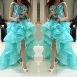 Hi Lo Organza Dresses Australia - Elegant Hi Lo Turquoise Hi Lo Prom Party Dresses with Organza Ruffle Bottom Sale Cheap Arabic Sequins Lace Special Occasion Formal Evening