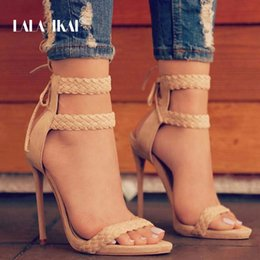 $enCountryForm.capitalKeyWord Australia - Lala Ikai Women Ankle Strap Sandals Fashion High Heels Sandal Summer Weaving Thin Heels Women Pumps Shoes Ladies 014b0174 -4 Y19070303
