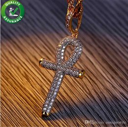 Bling Gifts Australia - Designer Necklace Hip Hop Jewelry Luxury Iced Out Pendant Brand Gold Cross Necllaces Diamond Pandora Style Charms Micro Paved Bling CZ Key