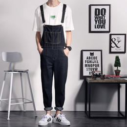suspender overall denim jumpsuit NZ - New Mens Black Denim Overalls Men Denim Pants Suspenders Jeans Black Male Denim Jumpsuit Salopette fz2359