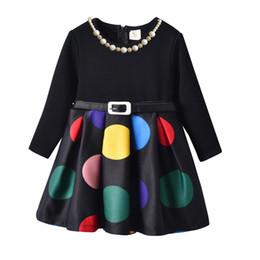 Dot Line Dress Australia - 2019 autumn and winter Korean girls polka dot belt children plus velvet dress tide black stitching foreign princess skirt