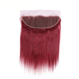 Human Hair Frontal Part Closure UK - 99J# Red Color 13*4 Brazilian Straight Lace Frontal 100% Human Hair Ear to Ear Lace Closure with Baby Hair Free Part Non-Remy