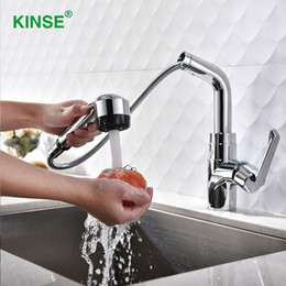Pull Out Kitchen Australia - KINSE Modern Shining Chrome Pull Out Water Faucet Single Hole Brass Kitchen Faucet with Sprayer