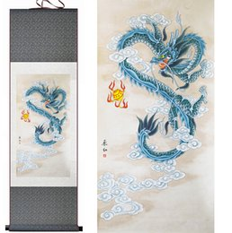 cartoon chinese dragons UK - Dragon Painting Home Office Decoration Chinese Scroll Painting Dragon Painting
