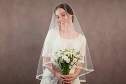 hot veils NZ - Hot Real Picture Best Selling Elegant Luxury Two Layer Cut Edge Wedding Veil With Alloy Comb Bridal Veils Custom White Wrist Length