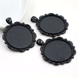 red cabochon setting Australia - 5pcs 30mm Inner Size Black and Antique Silver Plated and Bronze plated Classic Style Cabochon Base Setting Charms Pendant