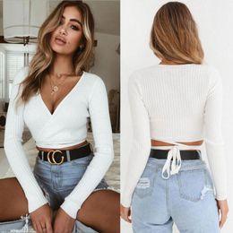 $enCountryForm.capitalKeyWord Australia - 2018 Summer Women Slim T-shirt Black White Khaki Long Sleeve T shirt Cross V-neck Sexy Crop Top