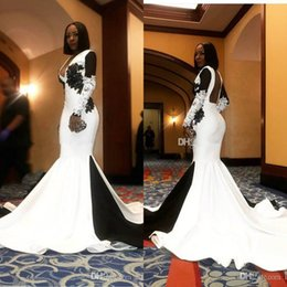 $enCountryForm.capitalKeyWord Australia - Modest White and Black African Mermaid Prom Dresses Evening Wear with Lace Applique 2019 Long Sleeves Evening Party Gowns Formal