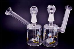 Cartoon Bongs Bowls NZ - Cartoon logo glass bong water pipe inline honeycomb percolator bongs glass bubbler bong with 14mm bowl glass oil rigs bong free shipping