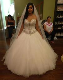 Modern Vintage Dresses China Australia - 2019 Long Floor Tulle Vintage Wedding Dresses Luxury Beaded Sweetheart Wedding Gowns A Line Bridal Dress China