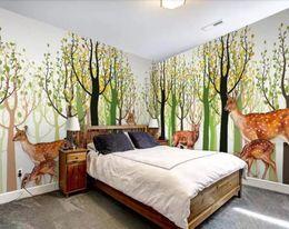 Wallpapers Walls Cartoons Australia - Photo Wallpaper 3D Stereo Children's room forest elk parent-child cute cartoon Mural Living Room Bedroom Backdrop Wall3D Mural Wall Papers