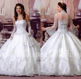 Wedding Dresses Sheer Jacket Australia - 2019 Sweetheart Neck Ball Gown Wedding Dress with Sheer Jacket Lace Appliques Bridal Gown robe de mariee BC1432