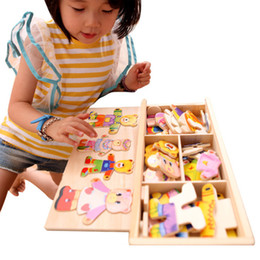 Dresser Toy Australia - Baby Boy and Girl Bricks Puzzl Bear Toys Margaret Lynx Dresser Wooden Puzzle Dress Up Game Child Educational Toy for Children